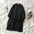 Dress Spring 2021 Black dress, white dress Average size Mid length dress singleton  Long sleeves commute Polo collar Solid color shirt sleeve 18-24 years old Korean version More than 95% polyester fiber