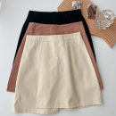 skirt Spring 2021 S,M,L Black, apricot, orange Short skirt commute High waist A-line skirt Solid color Type A 18-24 years old More than 95% other polyester fiber zipper Korean version