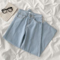 Jeans Spring 2021 blue S,M,L trousers High waist Wide legged trousers 18-24 years old Cotton denim 96% and above