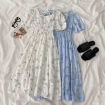 Dress Spring 2021 White, blue Average size Mid length dress singleton  Short sleeve commute square neck Elastic waist Broken flowers Socket A-line skirt routine Others 18-24 years old Type A Korean version printing 51% (inclusive) - 70% (inclusive) other cotton