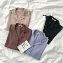 shirt Blue, white, black, medium red, light brown Average size Spring 2021 polyester fiber 96% and above Long sleeves commute Regular tailored collar Single row multi button shirt sleeve Solid color 18-24 years old Korean version