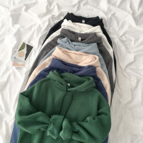Sweater / sweater Spring 2021 Blue, white, gray, apricot, black, green, sky blue Average size Long sleeves routine Socket singleton  routine Hood easy commute routine 18-24 years old 51% (inclusive) - 70% (inclusive) Korean version cotton