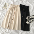 skirt Spring 2021 Average size Apricot, black Mid length dress commute High waist A-line skirt Solid color 18-24 years old More than 95% polyester fiber Korean version
