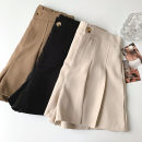 Casual pants Black, apricot, brown Average size Spring 2021 shorts Wide leg pants High waist commute routine 18-24 years old 96% and above polyester fiber Korean version pocket polyester fiber
