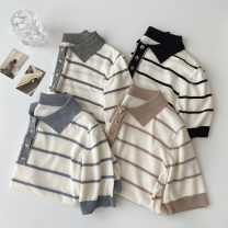 T-shirt Gray, black, blue, khaki Average size Spring 2021 Short sleeve Polo collar Straight cylinder Regular routine commute acrylic fibres 96% and above 18-24 years old Korean version classic Thin horizontal stripe