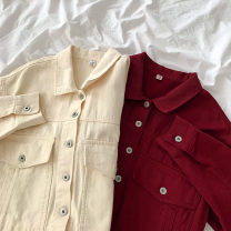short coat Spring 2021 S,M,L Apricot, jujube Long sleeves routine routine singleton  Straight cylinder commute routine Polo collar Single breasted Solid color 18-24 years old 96% and above Button, pocket cotton cotton