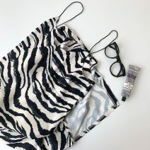 Dress Spring 2021 Picture color Average size Mid length dress singleton  Sleeveless commute V-neck High waist Zebra pattern Socket other camisole 18-24 years old Type A Korean version Pleating, sling More than 95% other polyester fiber