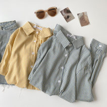 shirt Blue, yellow Average size Spring 2021 polyester fiber 96% and above Long sleeves commute Regular Polo collar Single row multi button shirt sleeve lattice 18-24 years old Straight cylinder Korean version Button Synthetic fiber