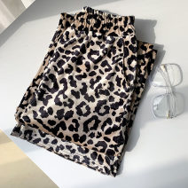Casual pants Leopard Print Average size Spring 2021 trousers Wide leg pants High waist commute routine 18-24 years old 96% and above polyester fiber Korean version pocket polyester fiber
