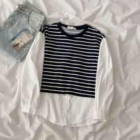 T-shirt stripe Average size Summer 2021 Long sleeves Crew neck easy Regular shirt sleeve commute cotton 96% and above 18-24 years old Korean version classic Splicing Button