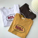 T-shirt Dark grey, white, yellow Average size Spring 2021 Short sleeve Crew neck easy Regular routine commute cotton 96% and above 18-24 years old Korean version classic letter