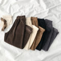 Casual pants Black, gray, khaki, apricot, dark coffee Average size Spring 2021 Ninth pants Wide leg pants High waist commute routine 18-24 years old 96% and above corduroy Korean version