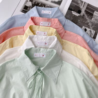 shirt Blue, green, white, yellow, pink Average size Spring 2021 cotton 51% (inclusive) - 70% (inclusive) Long sleeves commute Medium length Polo collar Single row multi button shirt sleeve Solid color 18-24 years old Straight cylinder Korean version Button polyester cotton