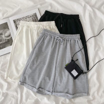 Casual pants White, gray, black Average size Spring 2021 Ninth pants Wide leg pants High waist commute routine 18-24 years old 96% and above polyester fiber Korean version pocket polyester fiber