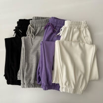 Casual pants Black, gray, purple, white Average size Spring 2021 trousers Haren pants High waist commute routine 18-24 years old 96% and above polyester fiber Korean version pocket polyester fiber