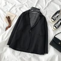 suit Autumn of 2019 black Average size Long sleeves routine easy tailored collar A button commute routine Solid color 18-24 years old 96% and above polyester fiber