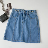 skirt Spring 2021 S,M,L,XL blue Short skirt commute High waist A-line skirt Solid color Type A 18-24 years old More than 95% Denim cotton Button Korean version