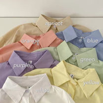 shirt Shrimp powder, blackcurrant purple, mint green, light gray blue, gray and green, ballet step powder, iris yellow, gentle apricot, cream white Average size Spring 2021 polyester fiber 96% and above Long sleeves commute Medium length Polo collar Single row multi button shirt sleeve Solid color