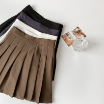 skirt Spring 2021 S,M,L Brown, black, white, dark grey Short skirt commute High waist Pleated skirt Solid color Type A 18-24 years old More than 95% other polyester fiber zipper Korean version