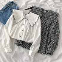 shirt White, black check Average size Spring 2021 polyester fiber 96% and above Long sleeves commute Regular Doll Collar Single row multi button routine lattice 18-24 years old Straight cylinder Korean version Button polyester cotton