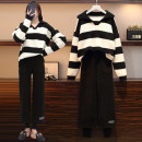 Women's large Spring 2021 Striped sweater, black pants, suit L [100-120 Jin recommended], XL [120-140 Jin recommended], 2XL [140-160 Jin recommended], 3XL [160-180 Jin recommended], 4XL [180-200 Jin recommended] Other oversize styles Two piece set commute easy thickening Socket Long sleeves other