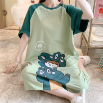 Nightdress Other / other Green dinosaur cotton nightdress M,L,XL,2XL,3XL,4XL Cartoon Short sleeve pajamas Middle-skirt summer Cartoon animation youth Crew neck cotton printing More than 95% pure cotton 200g and below