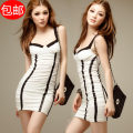 Dress Summer of 2019 White, black Average size Short skirt singleton  Sleeveless Sweet Elastic waist stripe Princess Dress camisole 18-24 years old Angel of flowers A013 More than 95% nylon solar system
