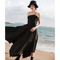 Dress Spring 2021 black Small, large longuette singleton  Sleeveless commute other High waist Solid color Single breasted Irregular skirt other camisole 18-24 years old Type A Big dragon shop Retro Pleats, pockets, stitching, asymmetry, straps, buttons QL210228263 More than 95% other cotton