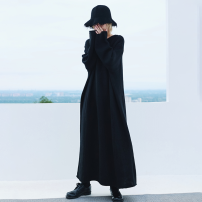 Dress Autumn 2020 black Average size longuette singleton  Long sleeves commute Crew neck Loose waist Solid color Socket other 18-24 years old Type H Big dragon shop Simplicity QL200338029 More than 95% knitting