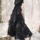 skirt Spring 2021 Large, small Black, dead leaf longuette commute Natural waist Ruffle Skirt Solid color 18-24 years old QL200222071 51% (inclusive) - 70% (inclusive) other Big dragon shop cotton Retro