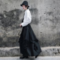 skirt Spring 2021 Average size Black, white longuette commute High waist A-line skirt Solid color Type A 18-24 years old QL210122136 More than 95% other Big dragon shop cotton Pleats, fungus, pocket, lace up, stitching Retro