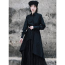 Dress Spring 2021 black Average size longuette singleton  Long sleeves commute other High waist Solid color Single breasted Big swing bishop sleeve Others 18-24 years old Type A Big dragon shop Retro Asymmetry, strap, button QL200128195 More than 95% polyester fiber