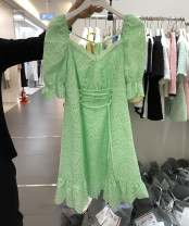 Dress Spring 2021 Light green domestic transit, white domestic transit, light green Korean direct mail, white Korean direct mail Average size Middle-skirt singleton  elbow sleeve commute V-neck middle-waisted Solid color Socket Ruffle Skirt puff sleeve Others 25-29 years old Type X Other / other