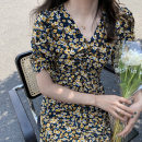 Dress Summer 2020 Yellow, Beixing M, L Mid length dress singleton  Short sleeve commute V-neck High waist Decor A-line skirt routine 18-24 years old Retro
