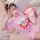 T-shirt Pink Average size Summer of 2019 Short sleeve Crew neck easy Medium length routine commute cotton 30% and below 18-24 years old Korean version Cartoon animation Other / other Sticking cloth