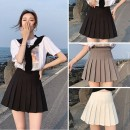skirt Autumn 2020 XS,S,M,L,XL,2XL Short skirt commute High waist Pleated skirt Solid color Type A 18-24 years old More than 95% other polyester fiber fold Korean version
