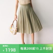 skirt Spring 2021 XS,S,M,L,XL Matcha green spot longuette commute High waist Pleated skirt Solid color Type A TE1CBQ008 other Insect cotton fold