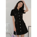 Dress Summer 2020 Black / with belt, Khaki / with belt S,M,L Mid length dress singleton  Short sleeve commute other High waist Solid color Socket other other Others 18-24 years old Type A LOVEHEYNEW Korean version D32k-j006 American frock dress other other