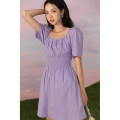 Dress Summer 2020 White, purple S, M Mid length dress singleton  Short sleeve commute other High waist Solid color Socket other other Others 18-24 years old Type H LOVEHEYNEW Korean version Mxe45l-20353 first love dress other other