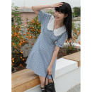 Dress Summer 2021 Green, blue Average size Middle-skirt singleton  commute other High waist stripe 18-24 years old Type H LOVEHEYNEW Korean version E51t-2726 fine Plaid Dress