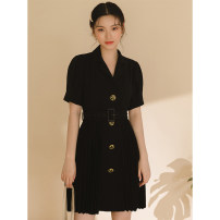 Dress Summer 2020 black S,M,L Short skirt singleton  Short sleeve commute tailored collar Solid color Single breasted routine 18-24 years old LOVEHEYNEW Korean version Gorgeous 157zk-324 dress 71% (inclusive) - 80% (inclusive) other polyester fiber