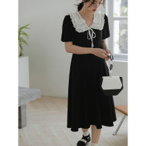 Dress Spring 2021 black Average size Mid length dress singleton  Short sleeve commute High waist Socket A-line skirt 18-24 years old Type A LOVEHEYNEW Korean version E18n-7186 double layer white floating princess skirt