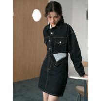 Fashion suit Spring 2021 S,M,L Dark blue top, dark blue skirt 18-25 years old LOVEHEYNEW D34k-z2241 folding denim suit 51% (inclusive) - 70% (inclusive)