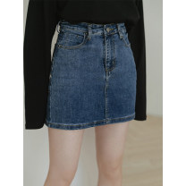 skirt Spring 2021 S,M,L,XL navy blue Short skirt commute High waist Type A 18-24 years old E08p-c6360 pique skirt LOVEHEYNEW Korean version