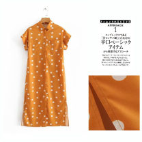 Dress Spring of 2019 yellow S,L,M Middle-skirt singleton  commute Dot Single breasted shirt sleeve Others 25-29 years old Jianyousha printing 51% (inclusive) - 70% (inclusive) other cotton