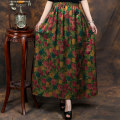 skirt Summer 2021 Average size Black, green, yellow leopard, red flower, red broken flower, red leopard, star, red lattice, black lattice, lattice longuette Retro Natural waist other Decor Type A 40-49 years old More than 95% Silk and satin silk printing