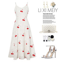 Dress Spring 2021 white S,M,L Mid length dress singleton  Sleeveless commute V-neck High waist other Socket A-line skirt routine camisole Korean version Embroidery C5070 51% (inclusive) - 70% (inclusive) Chiffon polyester fiber