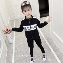 Sports suit Other / other female 120 for height below 115cm, 130 for height below 125cm, 140 for height below 135cm, 150 for height below 145cm, 160 for height below 155cm, 110 for height below 105cm Long sleeves Lapel trousers Spring 2021 hygroscopic and sweat releasing Running clothes cotton