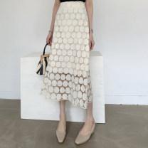 skirt Summer of 2019 S,M,L,XL Beige Mid length dress Versatile High waist Dot Type A Lace 401g / m ^ 2 (inclusive) - 500g / m ^ 2 (inclusive)