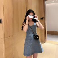 Dress Spring 2020 Wash blue S,M,L Short skirt singleton  Sleeveless commute V-neck High waist Socket A-line skirt Others Type A Korean version Pocket, make old 2020D06 81% (inclusive) - 90% (inclusive) Denim cotton